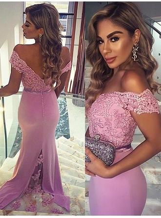 Trumpet/Mermaid Sweep Train Prom Dresses Off-the-Shoulder Charmeuse Sleeveless