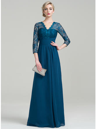 Chiffon 3/4 Sleeves Mother of the Bride Dresses V-neck A-Line/Princess Ruffle Floor-Length