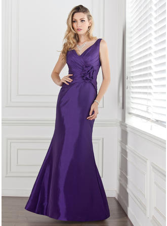 Taffeta Sleeveless Trumpet/Mermaid Bridesmaid Dresses V-neck Ruffle Flower(s) Floor-Length (007000884)