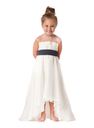 קו-A/נסיכה צווארון סקופ א-סימטרי Chiffon/Satin/Tulle שמלה לילדות הטקס