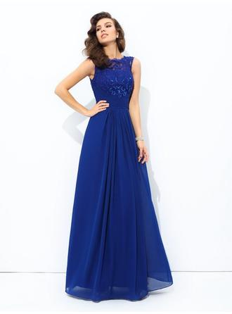 Sleeveless A-Line/Princess Prom Dresses Scoop Neck Lace Floor-Length