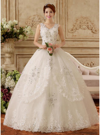 Ball-Gown V-neck Floor-Length Wedding Dress With Lace Beading Appliques Lace
