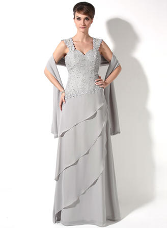 Chiffon Sleeveless Mother of the Bride Dresses Sweetheart A-Line/Princess Beading Cascading Ruffles Floor-Length