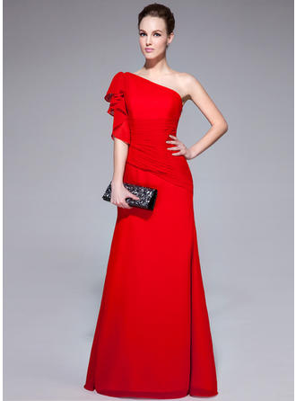 Trumpet/Mermaid One-Shoulder Floor-Length Evening Dresses With Cascading Ruffles