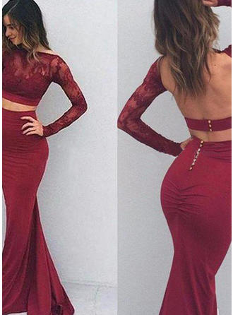 Trumpet/Mermaid Floor-Length Jersey Prom Dress With Appliques Lace