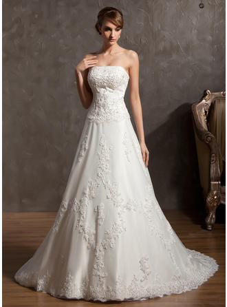 Delicate Chapel Train A-Line/Princess Wedding Dresses Strapless Satin Sleeveless