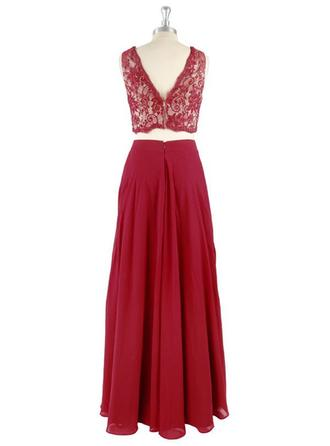 A-Line/Princess V-neck Floor-Length Detachable Chiffon Evening Dresses With Lace