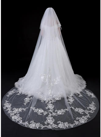 Two-tier Lace Applique Edge Cathedral Bridal Veils With Faux Pearl/Lace
