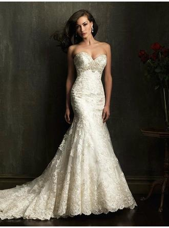 Trumpet/Mermaid Sweetheart Chapel Train Wedding Dresses With Lace Appliques Lace