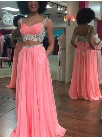 Chiffon Sleeveless A-Line/Princess Prom Dresses Sweetheart Lace Floor-Length