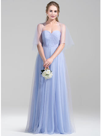 Tulle 1/2 Sleeves A-Line/Princess Bridesmaid Dresses Sweetheart Ruffle Floor-Length