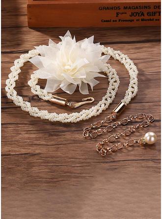 Elegant Legierung Schleifenbänder/Stoffgürtel mit Blume/Faux-Perlen