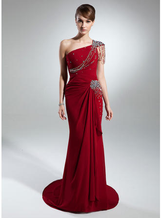Trumpet/Mermaid One-Shoulder Court Train Mother of the Bride Dresses With Beading Cascading Ruffles