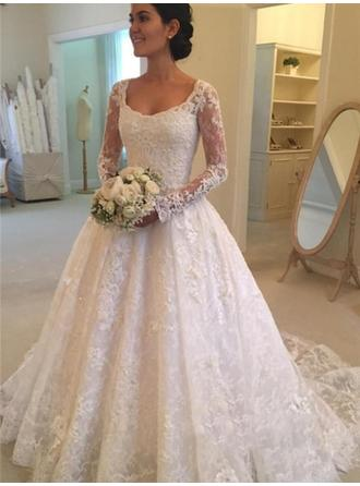 Ball-Gown Scoop Cathedral Train Wedding Dress With Ruffle