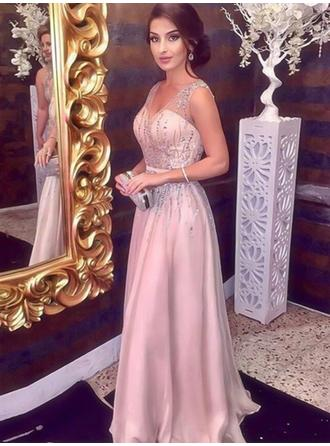 Floor-Length A-Line/Princess Gorgeous V-neck Chiffon Prom Dresses