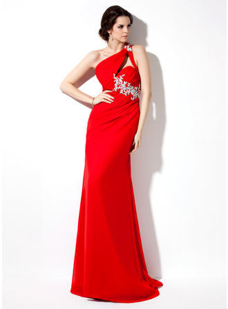 Sheath/Column One-Shoulder Sweep Train Evening Dress With Ruffle Beading Appliques Lace Sequins