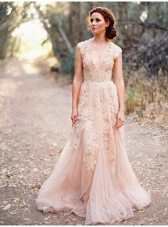 V-neck A-Line/Princess Wedding Dresses Tulle Appliques Lace Sleeveless Sweep Train