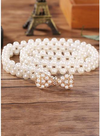 Women Imitation Pearls With Rhinestones Belt Elegant Sashes & Belts