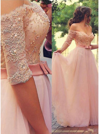 A-Line/Princess Beading Appliques Off-the-Shoulder With Tulle Evening Dresses