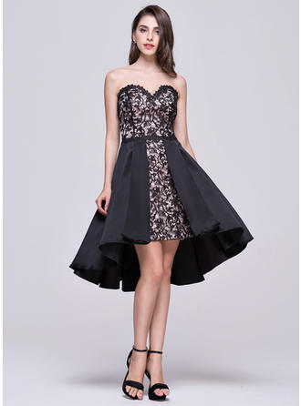 Newest Satin Lace Homecoming Dresses A-Line/Princess Asymmetrical Sweetheart Sleeveless