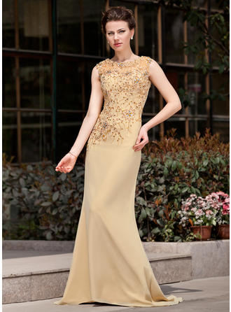 Trumpet/Mermaid Scoop Neck Chiffon Sleeveless Sweep Train Lace Beading Sequins Mother of the Bride Dresses
