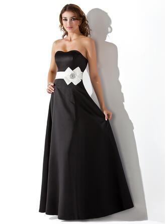 Empire Sweetheart Floor-Length Satin Bridesmaid Dress With Sash Beading Flower(s)