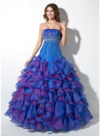 Ball-Gown Strapless Floor-Length Organza Prom Dress With Beading Appliques Lace Sequins Cascading Ruffles