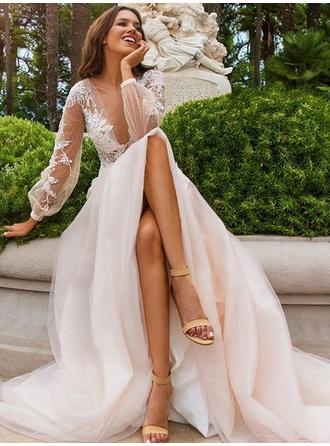 Princess Tulle Wedding Dresses A-Line/Princess Sweep Train Deep V Neck Long Sleeves