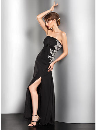 A-Line/Princess Strapless Floor-Length Evening Dress With Ruffle Beading Appliques Lace Sequins Split Front