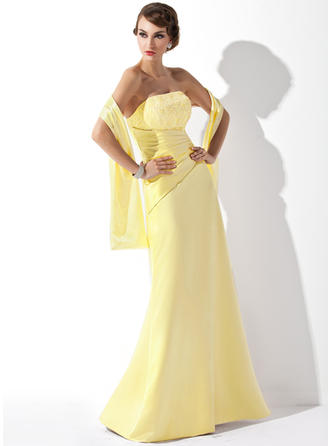 Satin Lace Sleeveless A-Line/Princess Bridesmaid Dresses Strapless Ruffle Beading Sequins Floor-Length