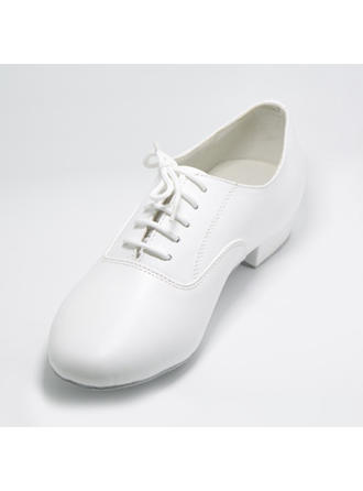Women's Swing Practice Flats Real Leather With Lace-up Dance Shoes
