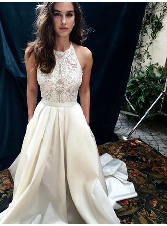 Satin Simple Wedding Dresses With A-Line/Princess Halter