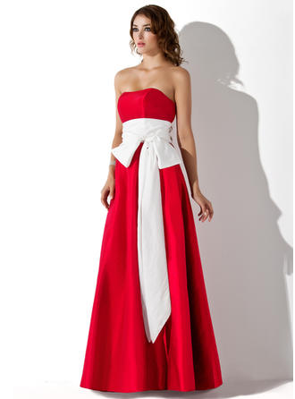 Empire Strapless Floor-Length Bridesmaid Dresses With Sash Bow(s)