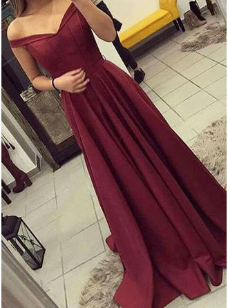 Simple A-Line/Princess Sleeveless Charmeuse Prom Dresses