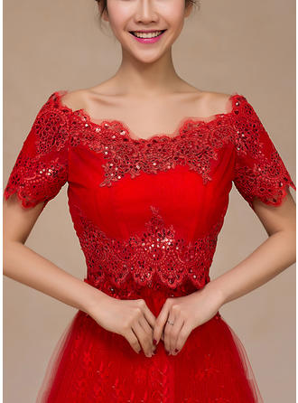 Wrap Wedding Lace Sequined Short Sleeve Other Colors Wraps