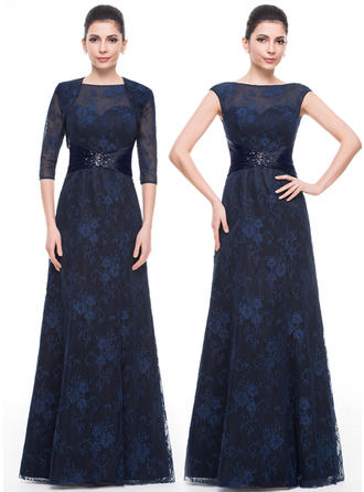 A-Line/Princess Lace Sleeveless Scoop Neck Floor-Length Zipper Up Mother of the Bride Dresses