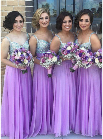 Chiffon Sequined Sleeveless A-Line/Princess Bridesmaid Dresses Sweetheart Floor-Length