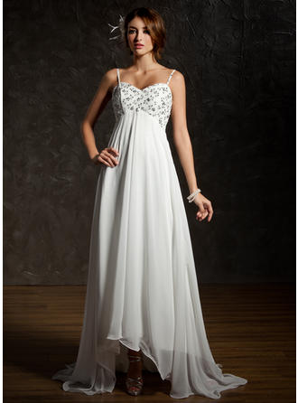 Magnificent Asymmetrical Empire Wedding Dresses Sweetheart Chiffon Sleeveless