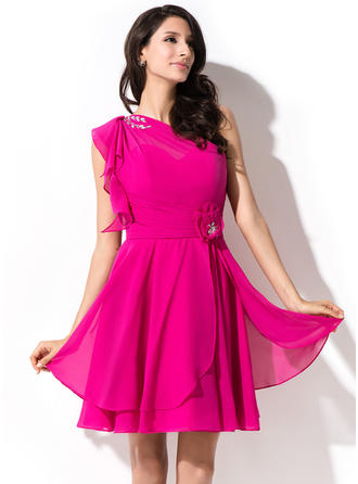 Flattering Chiffon Sleeveless One-Shoulder Beading Sequins Cascading Ruffles Homecoming Dresses