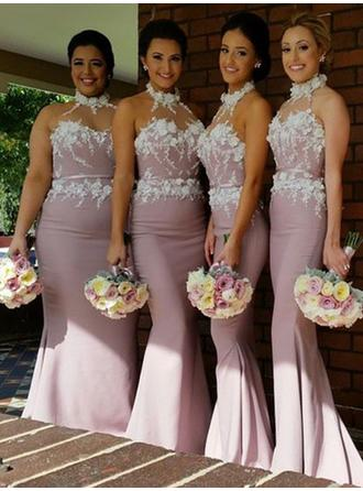 Trumpet/Mermaid Satin Lace Bridesmaid Dresses High Neck Sleeveless Sweep Train