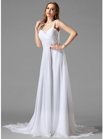 A-Line/Princess Sweetheart Chapel Train Wedding Dresses With Ruffle Lace Beading