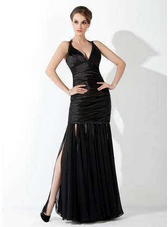 Trumpet/Mermaid Halter Chiffon Charmeuse Sleeveless Floor-Length Ruffle Evening Dresses