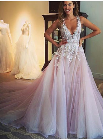 Ball-Gown Tulle Sleeveless Deep V Neck Cathedral Train Wedding Dresses