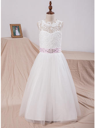 A-Line/Princess Scoop Neck Floor-length With Sash/Bow(s)/V Back Tulle/Lace Flower Girl Dresses (010211658)