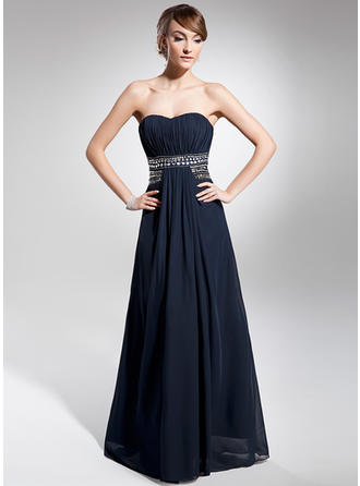 A-Line/Princess Sweetheart Floor-Length Evening Dress With Ruffle Beading