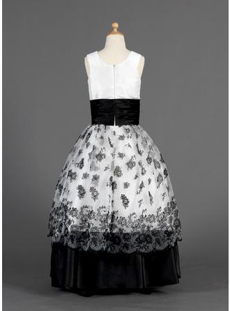 Mode Bodenlang Duchesse-Linie Blumenmädchenkleider U-Ausschnitt Organza/Charmeuse Ärmellos (010014627)