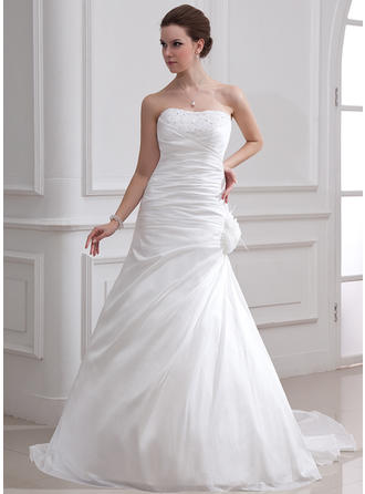 A-Line/Princess Court Train Wedding Dress With Ruffle Beading Feather Flower(s)