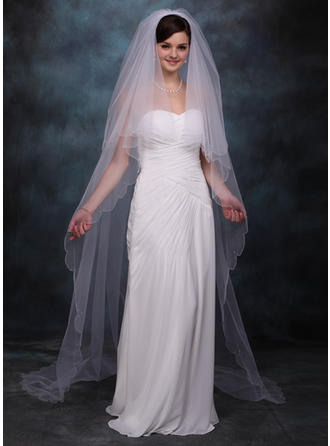 Chapel Bridal Veils Tulle Two-tier Drop Veil With Scalloped Edge Wedding Veils