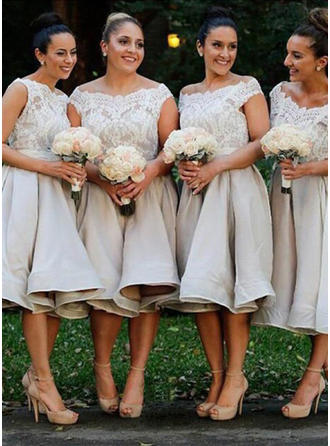 A-Line/Princess Off-the-Shoulder Knee-Length Satin Lace Bridesmaid Dress