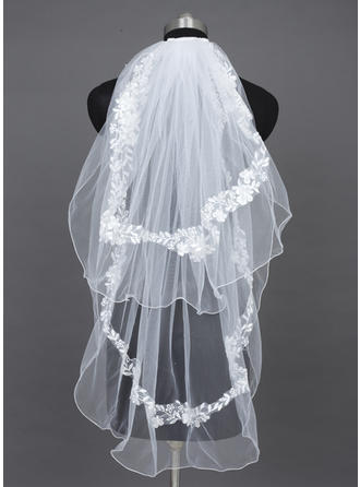 Fingertip Bridal Veils Tulle Two-tier Oval With Pencil Edge Wedding Veils